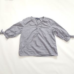 Tommy Hilfiger 3/4 Sleeve Gingham Popover Blouse